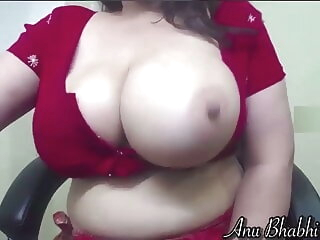 Look at Indian wife in red saree milking her tits on cam webcam